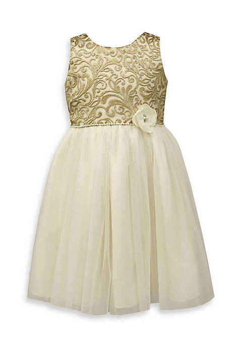 Jayne Copeland Gold Embroidered Lace Dress-Toddler Girls