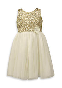 Gold Embroidered Lace Dress-Toddler Girls