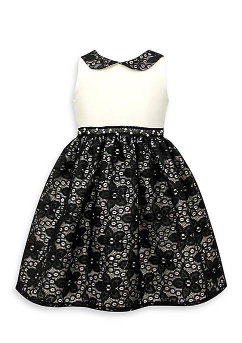 Cheap Jayne Copeland Black and White Dress with Peter Pan Collar-Toddler Girls