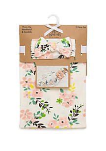 0248587a0 ... Baby Essentials Baby Girls Coral and White Flower Swaddle Set