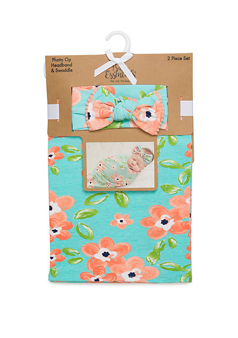 Baby Essentials Baby Girls Pink and Aqua Floral