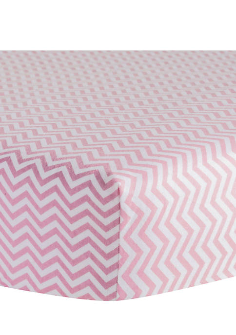 Trend Lab® Pink Chevron Flannel Fitted Crib Sheet