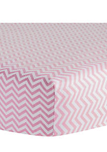 Pink Chevron Flannel Fitted Crib Sheet - Online Only