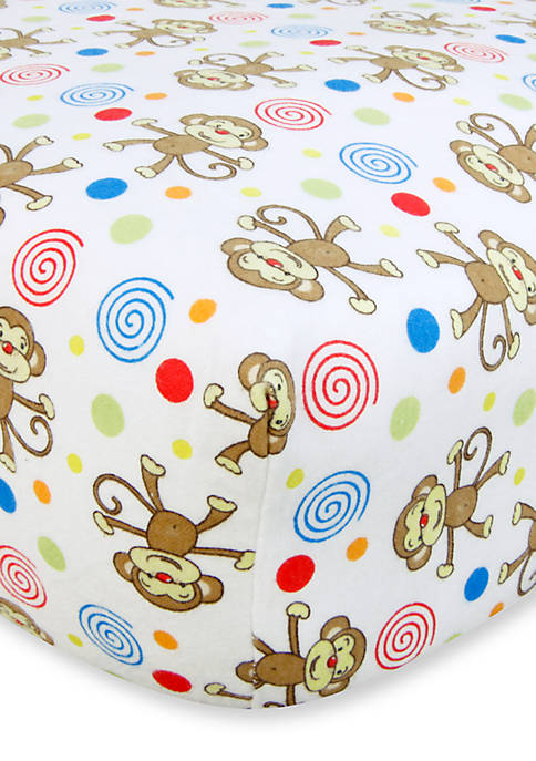 Trend Lab® Monkeys Flannel Fitted Crib Sheet