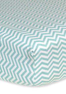 Mint Chevron Flannel Fitted Crib Sheet