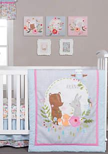 My Little Friends 6 Piece Crib Bedding Set
