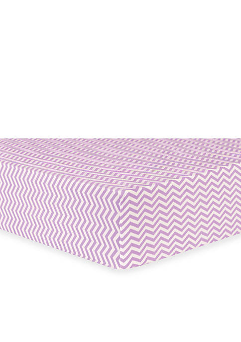 Lilac Chevron Flannel Fitted Crib Sheet