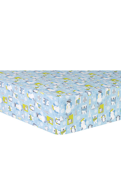Snow Pals Blue Flannel Fitted Crib Sheet