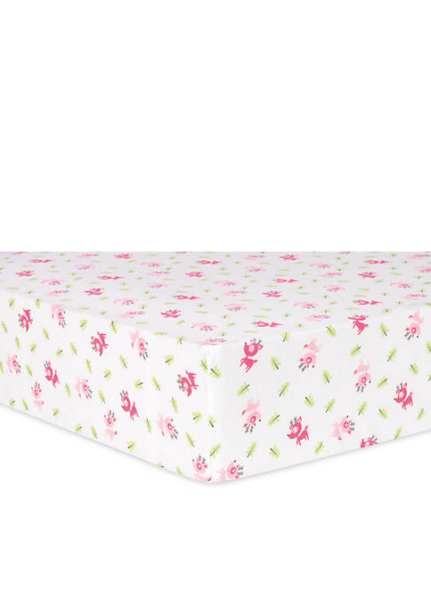Pink Reindeer Flannel Fitted Crib Sheet
