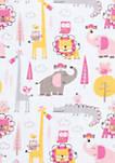 Pink Animal Safari Flannel Fitted Crib Sheet