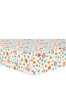 Woodsy Animals Flannel Fitted Crib Sheet