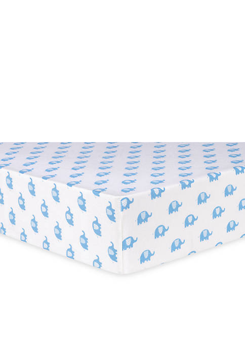 Trend Lab® Blue Elephants Flannel Fitted Crib Sheet
