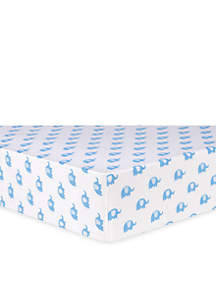 Blue Elephants Flannel Fitted Crib Sheet