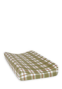 Green and Brown Plaid Deluxe Flannel Changing Pad Cover