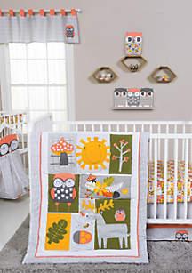 Olive Owl Five-Piece Crib Bedding Set