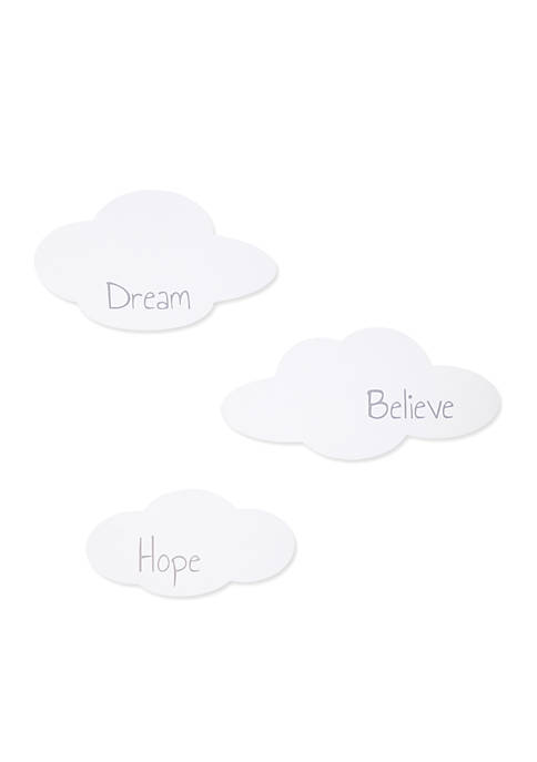 3 Pack Clouds Wood Décor