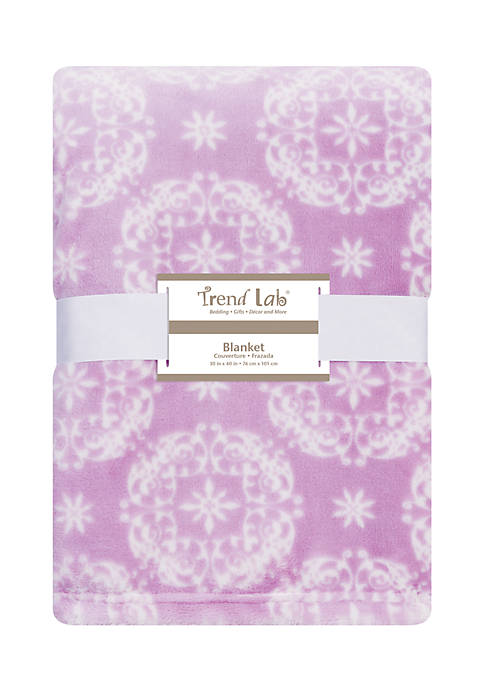 Trend Lab® Lavendula Medallion Plush Baby Blanket