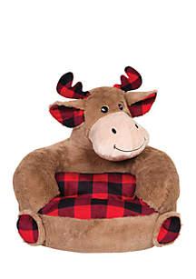 Plush Buffalo Check Moose Character Chair