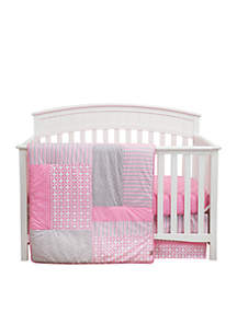 Patches and Prints Three-Piece Crib Bedding Set