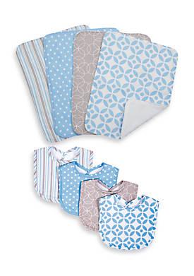 Pattern 4-Pack Bib and 4-Pack Burp Cloth Bundle