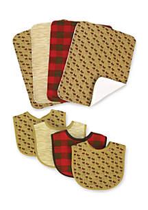 Northwoods 4 Pack Bib and 4 Pack Burp Cloth Set