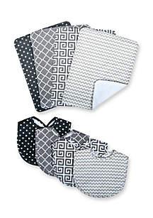Playful Print 4-Pack Big and 4-Pack Burp Cloth Bundle