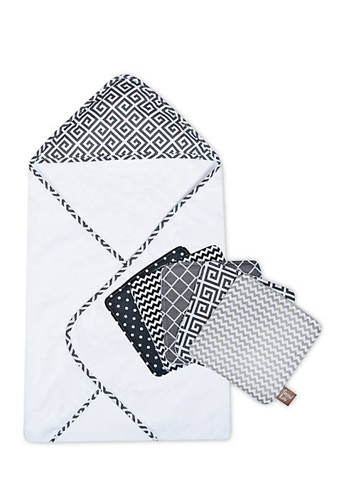 Ombre Gray Bouquet Hooded Towel and Wash Cloth Set