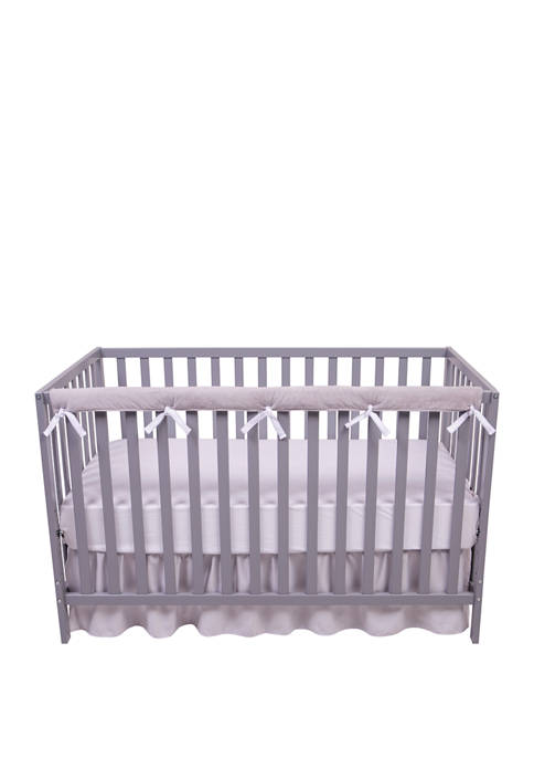 Baby Narrow Long Reversible White and Gray Velour Rail Cover