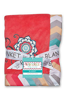 Waverly® Pom Pom Play Embroidered Coral Fleece Baby Blanket