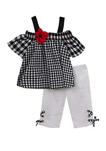 ... Rare Editions Baby Girls Black and White Gingham Off Shoulder Capri Set 716992256