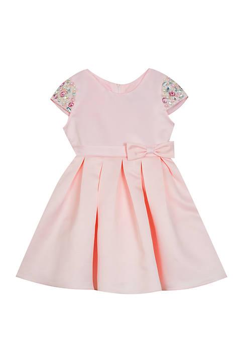 Baby Girls Pink Satin Beaded Sleeve Dress