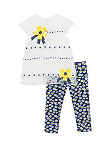Rare Editions Baby Girls White Lace Top with Navy Capris Daisy Set