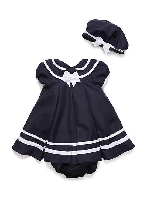c6324d0e98bb Rare Editions Baby Girls Navy Nautical Sailor Dress   belk