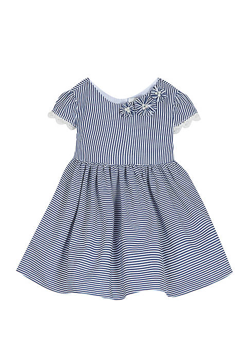 Baby Girls Navy White Stripe Cotton Dress