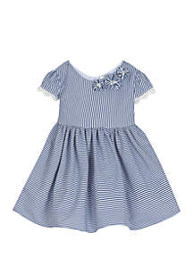 Rare Editions Baby Girls Navy White Stripe Cotton Dress