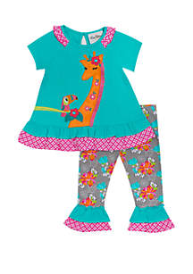 Rare Editions Baby Girls Mint and Fuchsia Floral Set with Giraffe