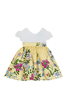Rare Editions Baby Girls Ivory and Yellow Floral Dress