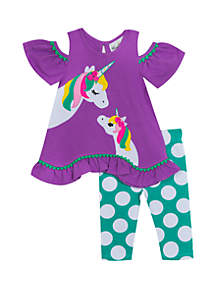 Rare Editions Baby Girls Purple Mint Ruffle Top Unicorn Set