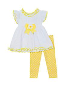 Rare Editions Baby Girls White and Yellow Eyelet Leggings Set