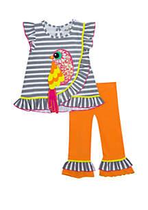 Rare Editions Baby Girls Orange Gray Stripe Birdy Set