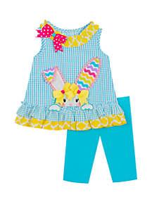 Rare Editions Baby Girls Turquoise Peeking Bunny Set