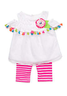 Rare Editions Baby Girls White Clipdot Cold Shoulder Set