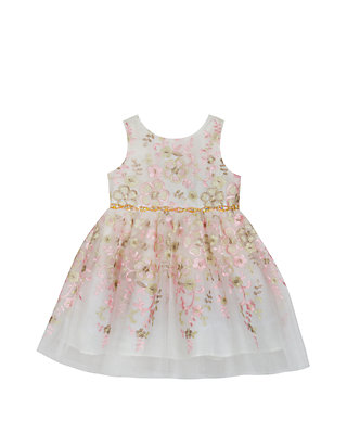 20ea2670ee Rare Editions. Rare Editions Baby Girls Ivory and Blush Embroidered Dress