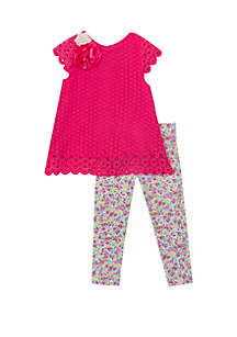 bd692ce0c04f ... Rare Editions Baby Girls Fuchsia Lace with Flower Trim Set