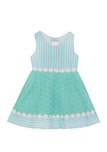 Rare Editions Baby Girls Mint White Seersucker Dress