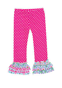 Jumping Fences by Rare Editions Baby Girls Fuchsia White Dot Leggings