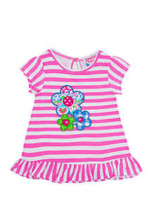 Jumping Fences by Rare Editions Baby Girls Pink Stripe Flower Top