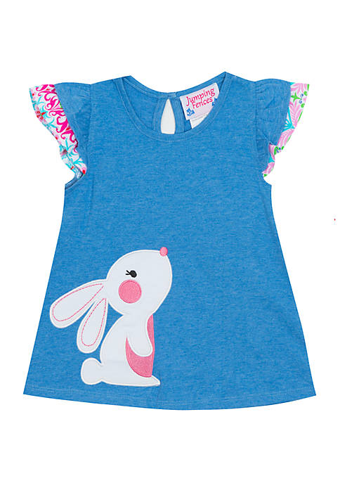 Baby Girls Blue Bunny Knit Top