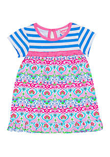 Jumping Fences by Rare Editions Baby Girls Blue White Stripe Top