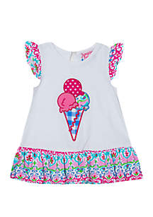 Jumping Fences by Rare Editions Baby Girls White Ice Cream Top